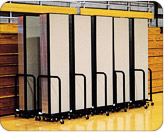 240 feet of Screenflex partitions folded